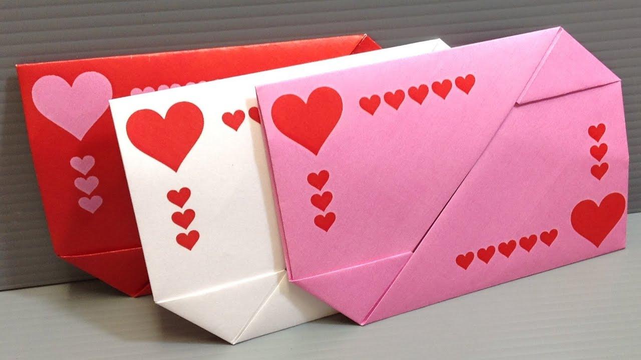 origami valentine's day gift card envelopes  print at