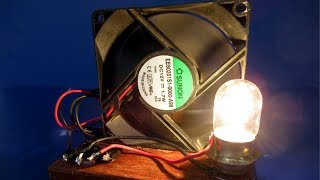 PC Fan Free energy generator with light bulb - New Science Experiment project at home
