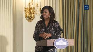 First Lady Michelle Obama Speaks at the Grammy Museum & BET Student Workshop