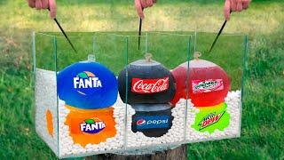 Experiment: Giant Balloons of Coca Cola & Fanta & Mirinda & Mountain Dew VS Mentos
