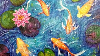Koi Fish Lily Pond Acrylic Painting LIVE Tutorial