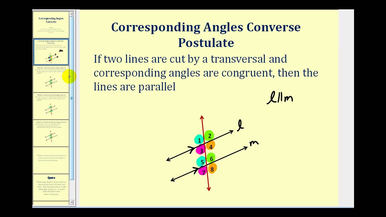 Check this out about converse of the corresponding angles - Alternate exterior angles converse ...