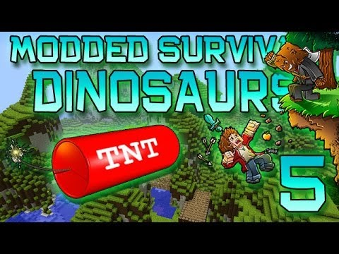 Minecraft: Modded Dinosaur Survival Let's Play W/Mitch! Ep. 5 - TNT RENOVATIONS! - Smashpipe Games