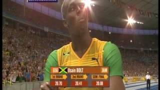 Usain Bolt 200m world record: 19.19!!! (+ Michael Johnson's reaction)