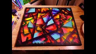 Acrylic Geometric Abstract Painting On Canvas Using A4 Paper Creating Layers Technique