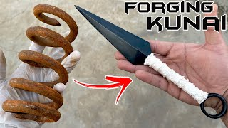 Rusty Coil Spring FORGED into a KUNAI