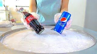 Coke coca-cola w/ PEPSI soft drink Ice cream VS Yogurt strawberry Ice cream rolls challenge