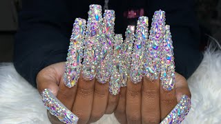 Extendo Bling Nails   Blinged Out Nails   Birthday Nails   Acrylic Nails Tutorial   Natali Carmona