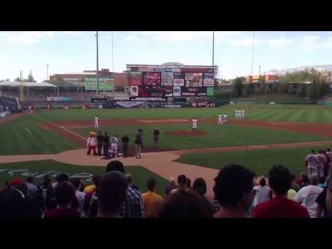 Grandpa Jake playing the National Anthem on his harmonica at the Albuquerque Isotopes game 4/29/13.