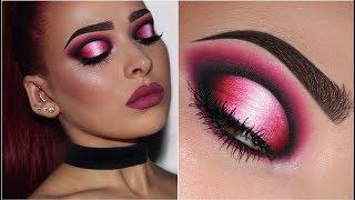 Black, Pink & White Ombré Halo Eye   Makeup Tutorial