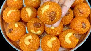 பூந்தி பொறிக்க தேவையில்லை, 2 பொருள் போதும் பேக்கரி லட்டு ரெடி😋 | Motichoor Laddu Recipe in Tamil