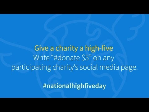 This National High Five Day, social media users can give five and get five for their favorite charities with GoodWorld's social giving tool, #donate. GoodWorld has partnered with National High Five Day for the Thursday, April 21st event to let people send the ultimate sign of support to the causes they care about. Visit www.goodworld.me/high-five-day to find a list of participating non-profits to send a 'high-five'.