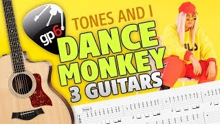 Tones And I - Dance Monkey (3 Guitars Cover with Tabs and Karaoke)
