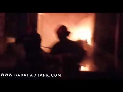 """نشوب حريق بالسوق المغطاة """" المرشي""""بحي الهناء جماعة سيدي سليمان شراعة بركان"""