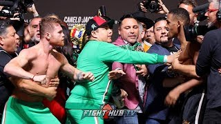 CANELO ALVAREZ & DANIEL JACOBS ALMOST THROW BLOWS! CLOSE BRAWL AT WEIGH IN FACE OFF! - FULL VIDEO