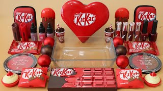 """Mixing """"KitKat"""" Eyeshadow and Makeup,parts,glitter Into Slime!Satisfying Slime Video!★ASMR★"""