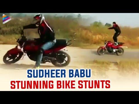 Hero Sudheer Babu performs amazing bike stunts