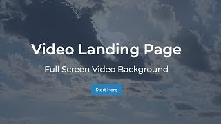 Full Screen Video Landing Page Tutorial with HTML5 and CSS3