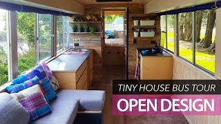 School bus conversion small home | tour | Off-grid family tiny house
