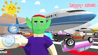 Dude Alien Hujan Mobil Naik Pesawat Jet 😱😂👽 | [Dude Theft Wars] Game Happy Alicia