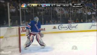Zdeno Chara breaks Henrik Lundqvist's mask. May 23 2013 Boston Bruins vs NY Rangers NHL Hockey.