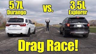Dodge Durango HEMI vs Ford Explorer Ecoboost Drag Race!  It's Kunes Country Prize Fights!