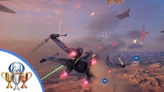 Star Wars Battlefront 2 X-wing vs TIE Fighter - destroy eight starfighters above Jakku. (Mission 11)
