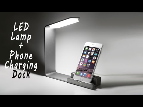 2-Port USB Desktop iPhone Charging Stand Smartphone Holder with LED Lamp