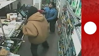 Euronews- Female shopkeeper shows armed robbers who's the ..