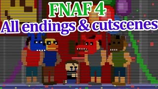 All FNAF 4 endings and cutscenes!