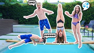 LAST TO FALL IN THE POOL WINS $10,000 CHALLENGE **FREEZING**🧊💰  Lev Cameron