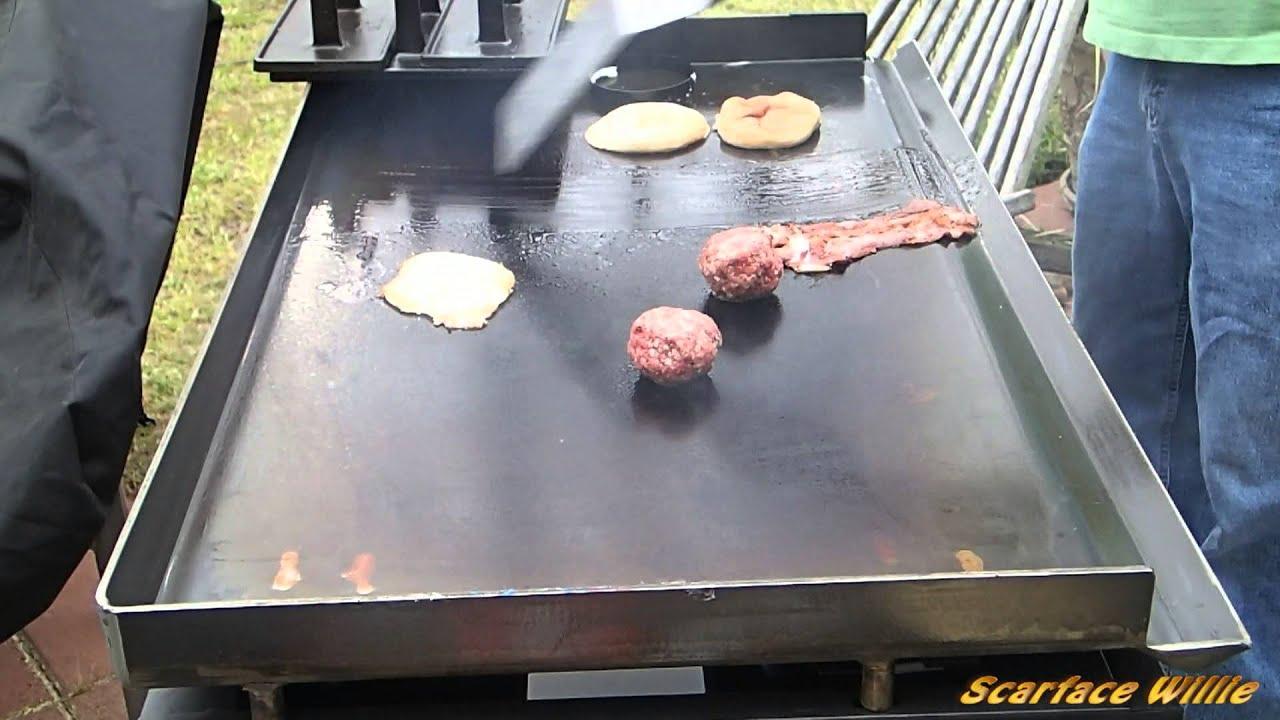Bacon Egg Double Cheeseburger On Blackstone Griddle Youtube