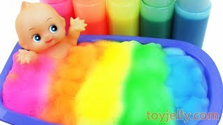 Learn Colors Baby Doll Body Paint Color Foam Bubble Bath Mixer Makes ORBEEZ to Kinder Surprise Eggs
