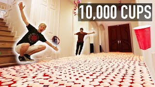 INSANE CUP PRANK ON ROOMMATES | (10,000 RED CUPS)