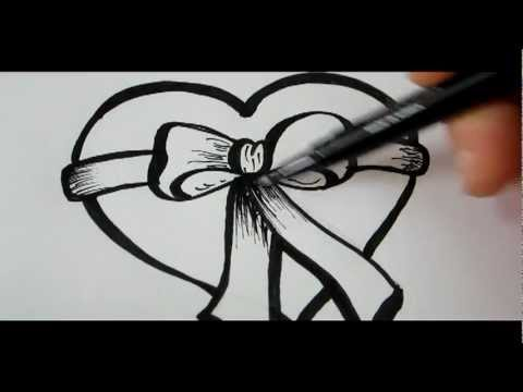 How To Draw A Heart Amp Bow Youtube