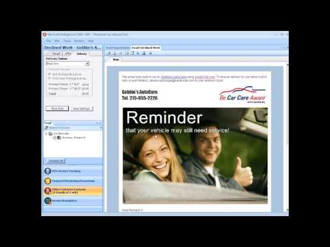 Service Reminders   Customize Appts DeclinedWk ThankYou   eAutoClub ServiceIntelligence CRM 360