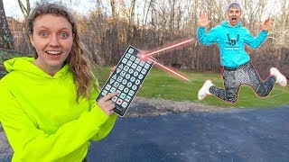 Ultimate Sis Vs Bro PAUSE CHALLENGE!! (I Control Stephen Sharer's Life for a Day with Giant Remote)