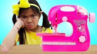 Emma and Andrew Toy Sewing Machine | Pretend Play Making Kids Clothes