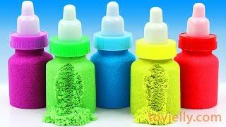 Making Kinetic Sand Mad Mattr Baby Milk Bottle DIY Learn Colors Nursery Rhymes Kinder Surprise Eggs