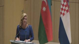 Croatian President Kolinda Grabar-Kitarović speaks at ADA University.