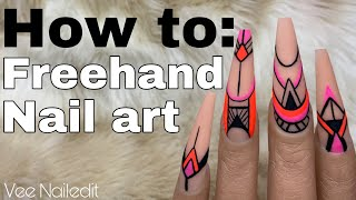 Freehand Nail Art Tutorial | Line Art | Neon Summer Nails | Vee Nailedit
