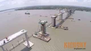 Cầu Mỹ Lợi - Quá trình xây cầu (Flycam)