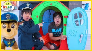 Ryan Pretend Play Police with Paw Patrol Chase help Daddy learn good habits for kids!