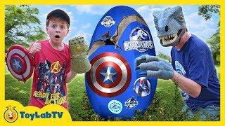 Dinosaurs vs Avengers Giant Surprise Egg! Jurassic World Fallen Kingdom, Infinity War Superhero Toys