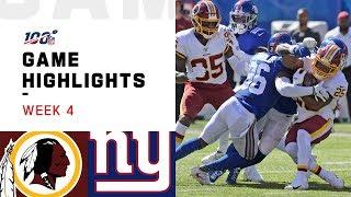 Redskins vs. Giants Week 4 Highlights | NFL 2019
