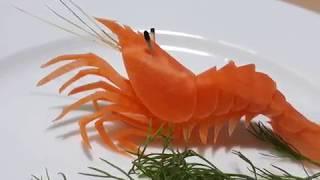 Học tỉa rau củ quả với Lê Khánh Carving - Tỉa cà rốt : Con Tôm (***) | Carving Shrimp from Carrot