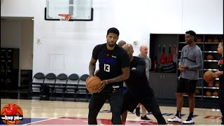 Paul George Working Out With Sam Cassell On Post Moves & 3 Point Shot. HoopJab NBA