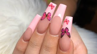 Pink French Tip w/ Butterflies | All Acrylic | Acrylic Nails Tutorial