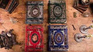 Binding  4 Leatherbound Tomes: Air, Earth, Fire and Water.