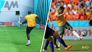 Akinfenwa recreates RIDICULOUS Tim Cahill volley! | World Cup Challenge